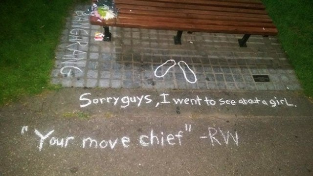 And this happened in Boston. Oh man. This bench was in a scene in Good Will Hunting. Photo shared by Craig Martin